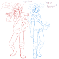 Winter in TF2Land fem. Scouts by Kiki-Hyuga