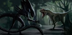 Alien vs allosaurus by LLirik-13