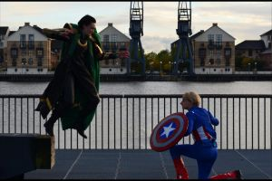 Loki vs. Captain America by samhawkeye