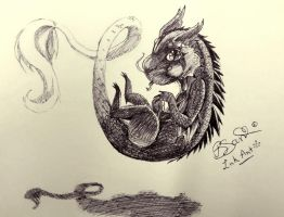 Ink Art : Baby Dragon by BuniSan