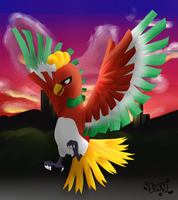 Ho-oh sunset by Effier-sxy
