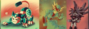 Limited Palette: Mega Man and MMZ by digitallyfanged