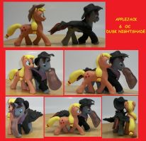 APPLEJACK G4 with OC pony Custom Sculpture by MadPonyScientist