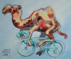 Camel on a Bicycle by ellemrcs