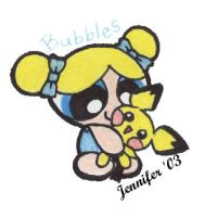 Bubbles with Pichu doll by chibi-jen-hen