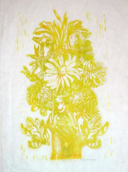 Flower Woodblock Print by faustbane