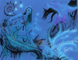 Neytiri from AVATAR blue paper by J-Scott-Campbell