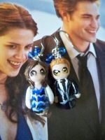 Edward and Bella Clay Earrings by PushyGirlTorella