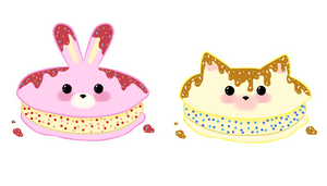 Bunny and Cat Creme Sandwiches by Yuseichan