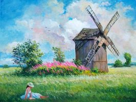 Landscape with windmill by Dreamnr9
