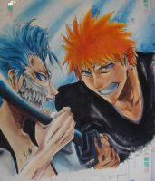 Ichigo VS Grimmjow on my wall! by nathgazela