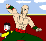 Tien and Chiaotzu fight poses by Kaiju-Borru-Zetto