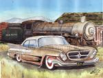 62 Chrysler 300 Custom At Abandoned Train Station by FastLaneIllustration