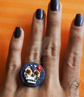 Sugar Skull Ring by colourful-blossom