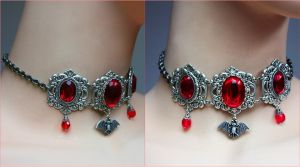 Bloody vampire bat necklace by Pinkabsinthe