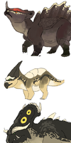 Pokemon Ceratopsid demons by umbbe