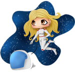 Commission: Chibi BlondHaired Girl in Space_Animat by kinga-saiyans