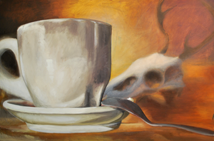Cup and Skull by paintinggael