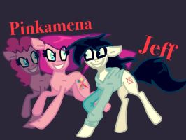 Jeff x Pinkamena by Rainbow-Sunlight
