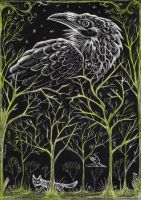 The Forest - Scratchboard by black-brd