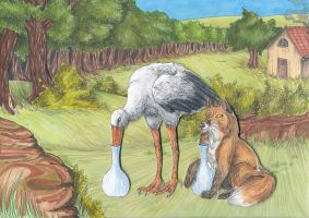 The Fox and the Stork by Aspi-Galou