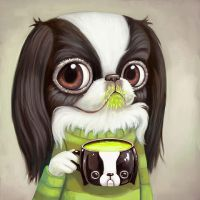 Japanese Chin Sips Matcha Tea by asterozea
