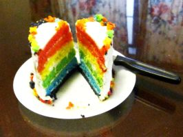 Inside of Rainbow Cake by kristollini