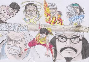 Luffy VS. 3 Almirantes by lGalleetita