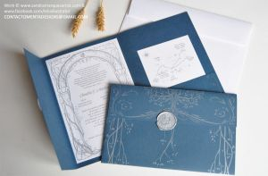 Wedding Card: LOTR Blue and Silver by MentaDesigns