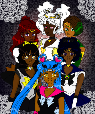 Pretty Black Sailor Soldiers by Kuroshi-tenshi