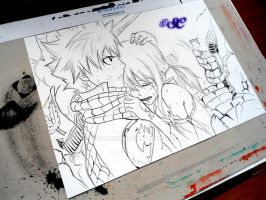 Natsu and Lucy work in progress 1 by Salvo91