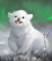 DAILY PAINT : Playful little polar bear  #58 by Dan-zodiac