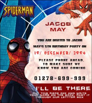 Spiderman Birthday Invitation by slaughterdbc