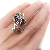 RENAI- silver ring with amethyst by litori