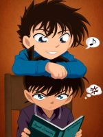 Shinichi and Kaito - Reading by Kyuubi-DemonFox