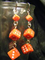 dice earrings long red by BacktoEarthCreations