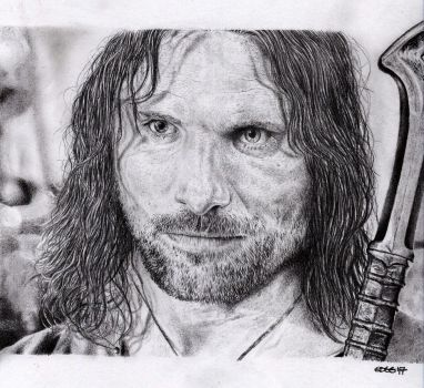 Aragorn (Viggo Mortensen) - Pencil Portrait by Cromoedge