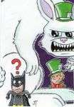 Batman vs Mad Hatter sketch card by johnnyism