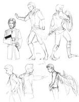 SPN fantasy AU sketch dump by fliff