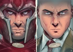 Magneto faces Charles Xavier by LudoDRodriguez