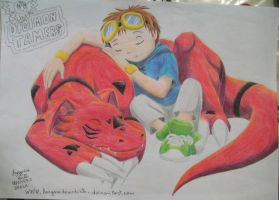Takato and Guilmon - Nap Time (color) by laryssadesenhista