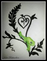 Tattoo design of tree frog on vine. by Purple-Dragonfly-Art