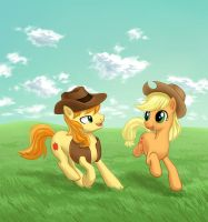 Applejack and Braeburn by dannylim86