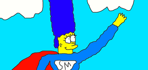 Super Marge Flying by Simpsonsfanatic33