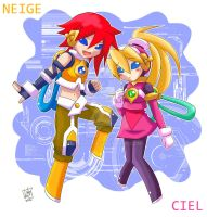 Cyber-elves Neige and Ciel by Lady2011