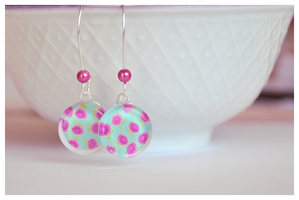 Pink flower ocean earrings by Leviana