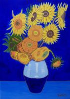 SUNFLOWERS IN BLUE by wwwEAMONREILLYdotCOM