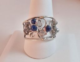 Filigree ring with sapphire and silverite beads by whippetgirl