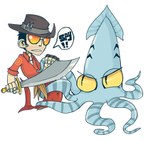 FANART: TF2 sniper and squid by JackASmile