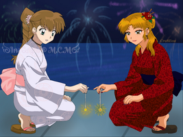 Umi and Katsumi in New Year Festival by Cre8Eva